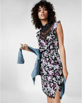 Express floral print pieced lace high neck dress