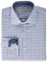 Perry Ellis Men's Slim Fit Adjustable Collar Perf Tattersall Dress Shirt