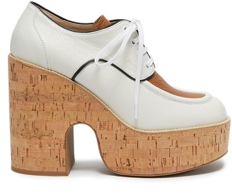 Miu Miu Bi-colour platform calf leather oxfords