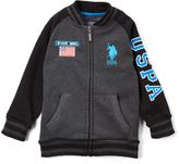 U.S. Polo Assn. Dark Heather Gray Varsity Jacket - Boys