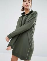 Daisy Street Longline Hooded Dress With Side Zip Detail