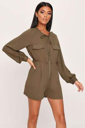 I SAW IT FIRST Khaki Utility Pocketed Playsuit