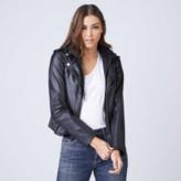 DSTLD Hooded Leather Jacket in Black