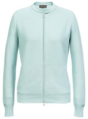Loro Piana Beau Soleil Zip-Front Silk-Blend Knit Sweater