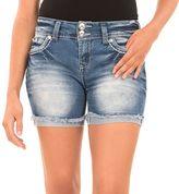 Juniors' Wallflower Cutoff 2-Button Denim Midi Shorts