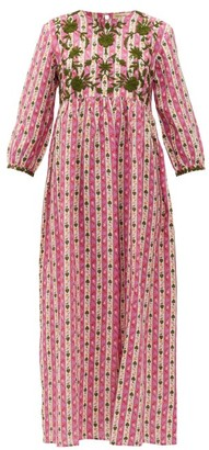 Muzungu Sisters - Floral-embroidered Linen Dress - Womens - Pink Print