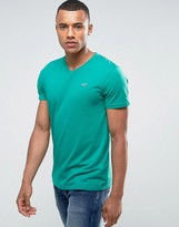 Hollister Slim Fit V-Neck T-Shirt In Green With Seagull Embroidered Logo