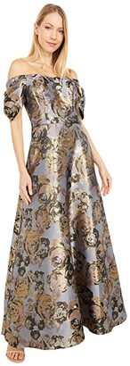 Adrianna Papell Petite Floral Jacquard Off Shoulder Puff Sleeve Gown (Moonlight Blue) Women's Dress