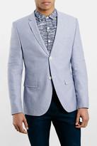 Topman Blue Oxford Skinny Fit Suit Jacket