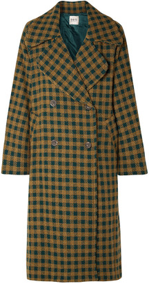 Sea Ethno Pop Oversized Double-breasted Gingham Wool-blend Coat