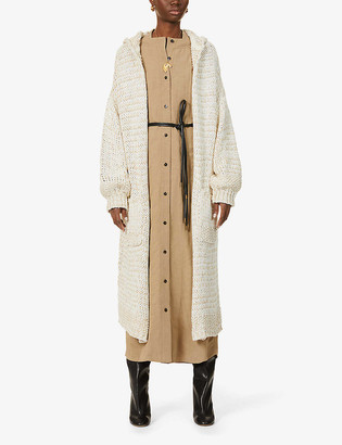 Free People Crofter hooded cotton-blend knitted midi cardigan