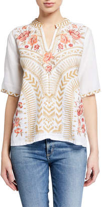 Johnny Was Rianne Embroidered V-Neck Short-Sleeve Easy Top