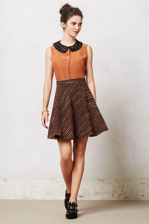Anthropologie Tweed Petite Skater Skirt
