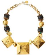 Devon Leigh Hammered Golden Medallion Square Necklace
