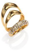Alexis Bittar Miss Havisham Liquid Crystal Triple-Band Ring/Goldtone