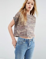 Asos Cropped T-Shirt In Camo Print