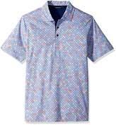 Bugatchi Men's Soft Finish Trim Lavender Multi Dot Polo Shirt M