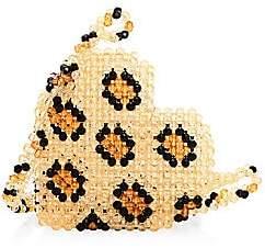 Susan Alexandra Women's Leopard Heart Beaded Crossbody Bag