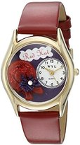 Whimsical Watches Women's C0460001 Classic Gold Red Hat Red Leather And Goldtone Watch
