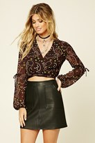 Forever 21 FOREVER 21+ Abstract Tie-Hem Crop Top
