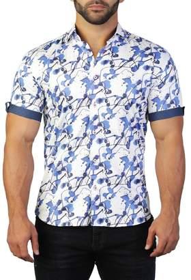 Maceoo Galileo Short Sleeve Splash Print Tailored Fit Dress Shirt