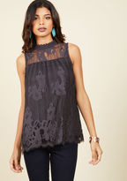 ModCloth Come to Your Incenses Sleeveless Top in Charcoal in L