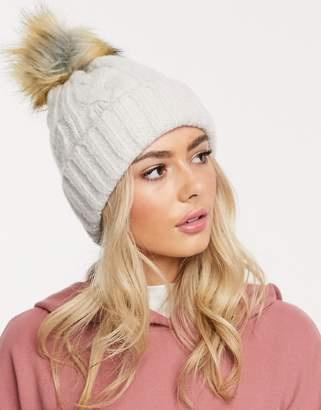 Asos Design DESIGN cable faux fur pom beanie hat in marl-Beige
