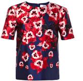 Prabal Gurung Preorder Pansy Printed Silk Molded Shoulder Blouse