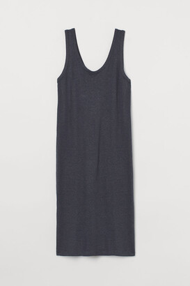 H&M Fitted Linen-blend Dress - Gray