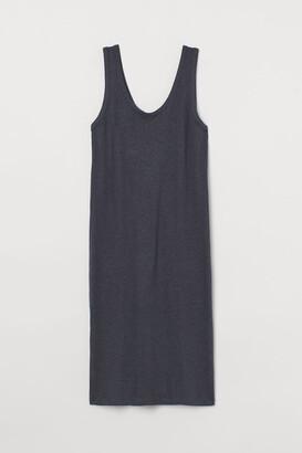 H&M Fitted Linen-blend Dress - Gray