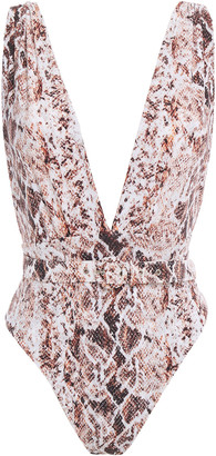 Nicholas Belted Snake-print Swimsuit