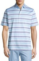 Peter Millar Johnson Striped Cotton Lisle Polo Shirt, White/Blue