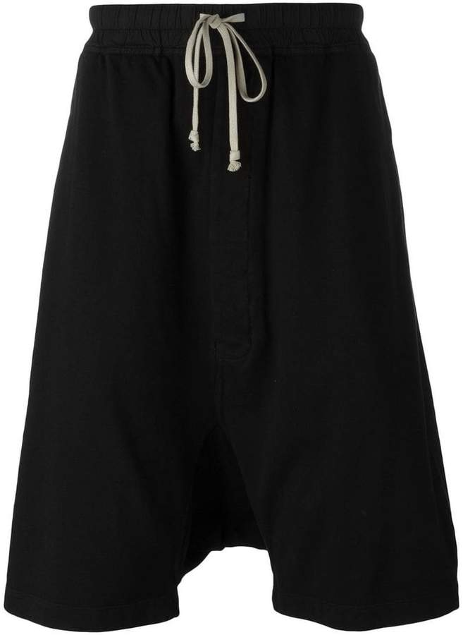 Rick Owens drop-crotch track shorts