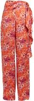AMUR Geneva Silk Floral Wide-Leg Pants
