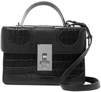 THE VOLON Data Alice Pebbled And Croc-effect Leather Shoulder Bag