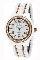 MOP Oniss Paris Women'S ON806-Lrg Wht Ladies, High Tech Ceramic Case and Band with Stainless Steel Middle Links ,Ip Rose Plating ,Swiss Movement, Sapphire Crystal, Dial,52 Austrian Crystals on Bezel - Blue Watch