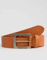 Tommy Hilfiger Thdm Leather Belt In Tan