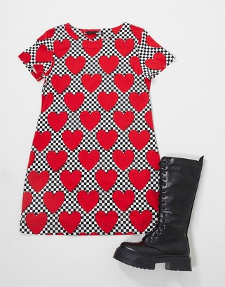 Love Moschino all-over heart print T-shirt dress in red