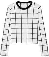 Valentino Cropped Checked Wool Sweater - Ivory