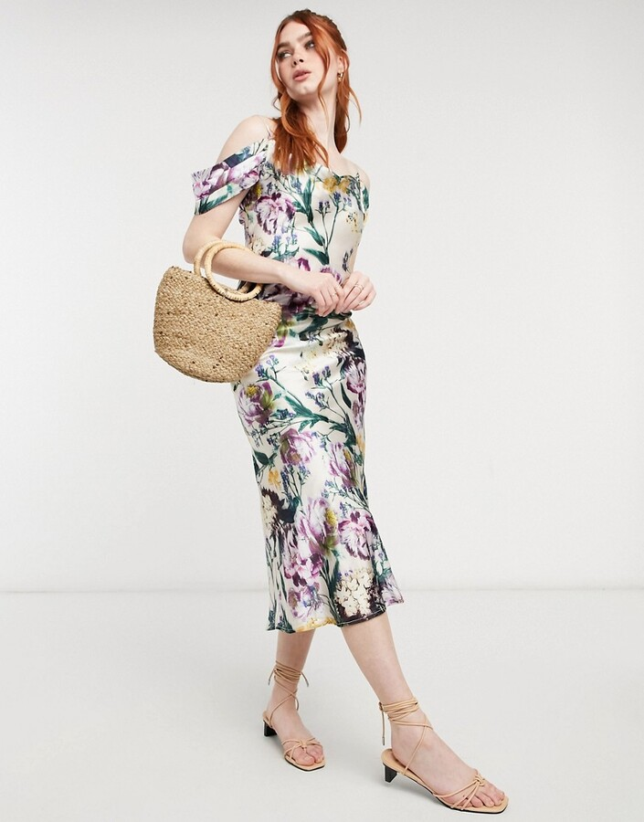 Thumbnail for your product : Hope & Ivy cold shoulder satin slip midaxi dress in mixed botanical print