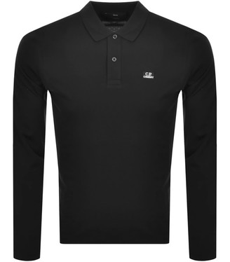C.P. Company Logo Long Sleeved Polo Black