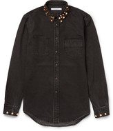 Givenchy - Cuban-fit Studded Stretch-denim Shirt