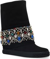 Casadei Embellished Chaucer Suede Wedge Boots