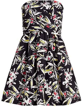 Milly Painted Floral Strapless Dress