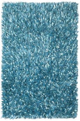 "St. Croix Shimmer Shag 21""x34"" Rug, Aqua Blue"