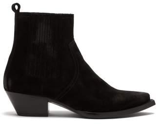 Saint Laurent Lukas Distressed-suede Chelsea Boots - Mens - Black