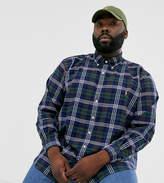 Polo Ralph Lauren Ralph Lauren Big & Tall player logo classic fit tartan check oxford shirt in hunter green/navy