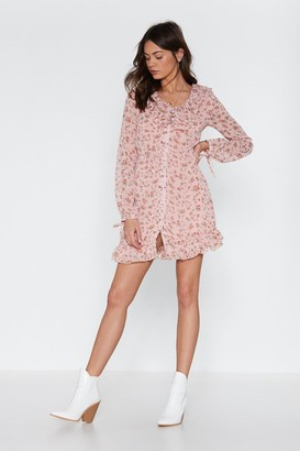 Nasty Gal Womens Shimmy Shimmy More Floral Ruffle Dress - Pink