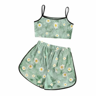 Rikay Daisy Tie Dye Gradient Halter Crop Top and Shorts Two 2 Piece Set Women Summer Tank Camis Suits Holiday Outfit Tracksuit (L
