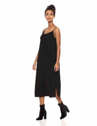Private Label Serene Bohemian Women's Black Strap Dress with Twisted Flounce Detail on The Front (Black M)